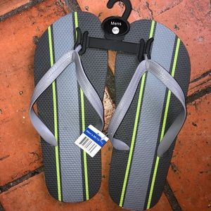 NWT dark & light gray stripped flip flops size 11